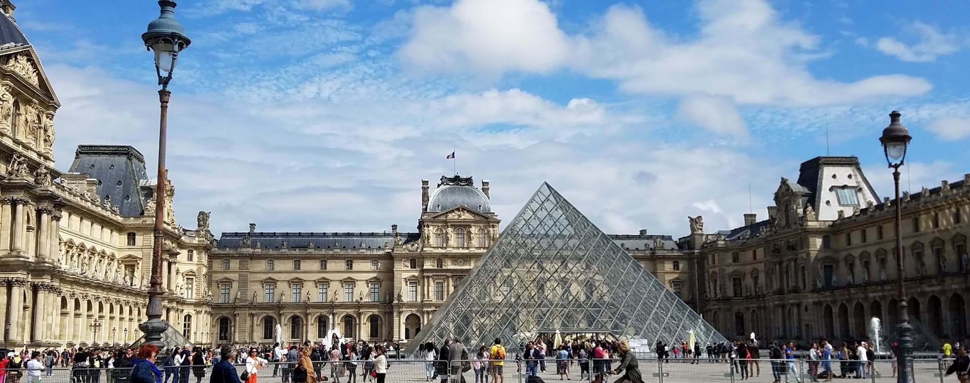 general view of louvre museum pyramid