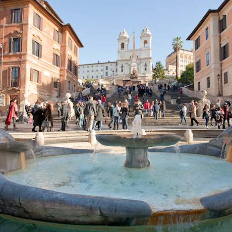 Fountain on Spanish Square with Spanish Steps