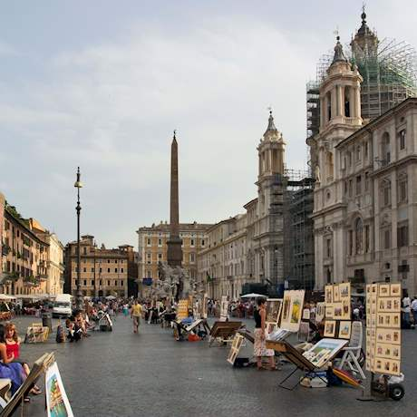 Piazza Navona with Paintings on the street