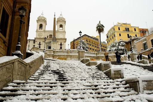 Spanish Steps covered with snow