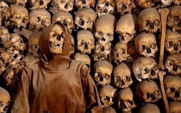 Capuchin monk and skulls
