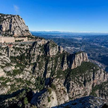 Stunning view from Montserrat Mountains over Catalonia