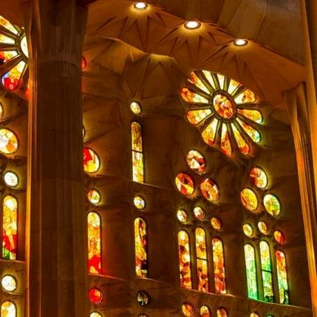 Colorful Stained Glasses inside Sagrada Familia Cathedral in Barcelona