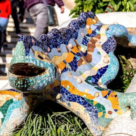 Famous Gaudi Statue called El Drac in Parc Guell, Barcelona