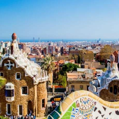 Stunning views of Barcelona from Parc Guell Terrace