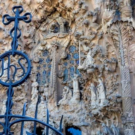 Beautiful sculptures on Sagrada Familia's facade in Barcelona