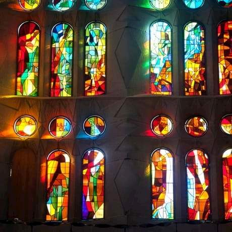 Beautiful stained glasses in Sagrada Familia Cathedral, Barcelona