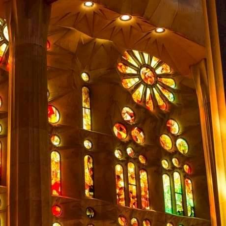 Sagrada Familia colorful stained glasses designed by Antoni Gaudi