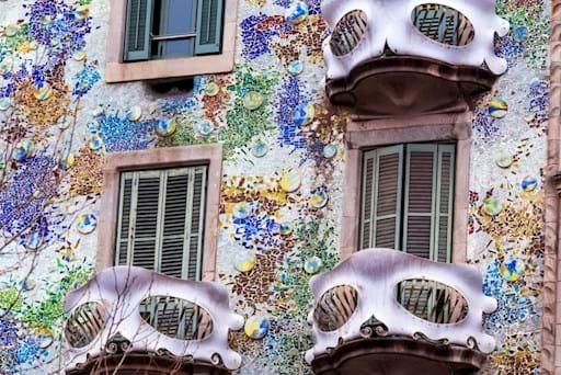 The Facade of Antoni Gaudi's Building the Casa Batllo on Passeig de Gracia