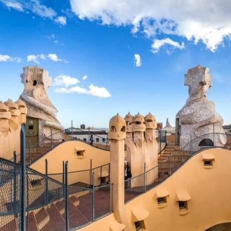 Sculptures of Architect Antoni Gaudi on Casa Mila Rooftop in Barcelona