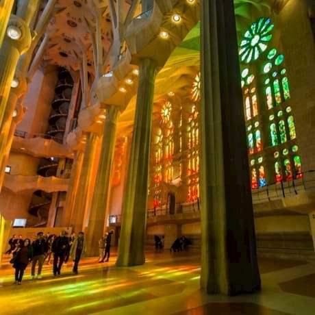 La Sagrada Familia church interior with stained glass windows in Barcelona