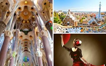 Sagrada Familia ceiling, Parc Guell view and  Flamenco dancer