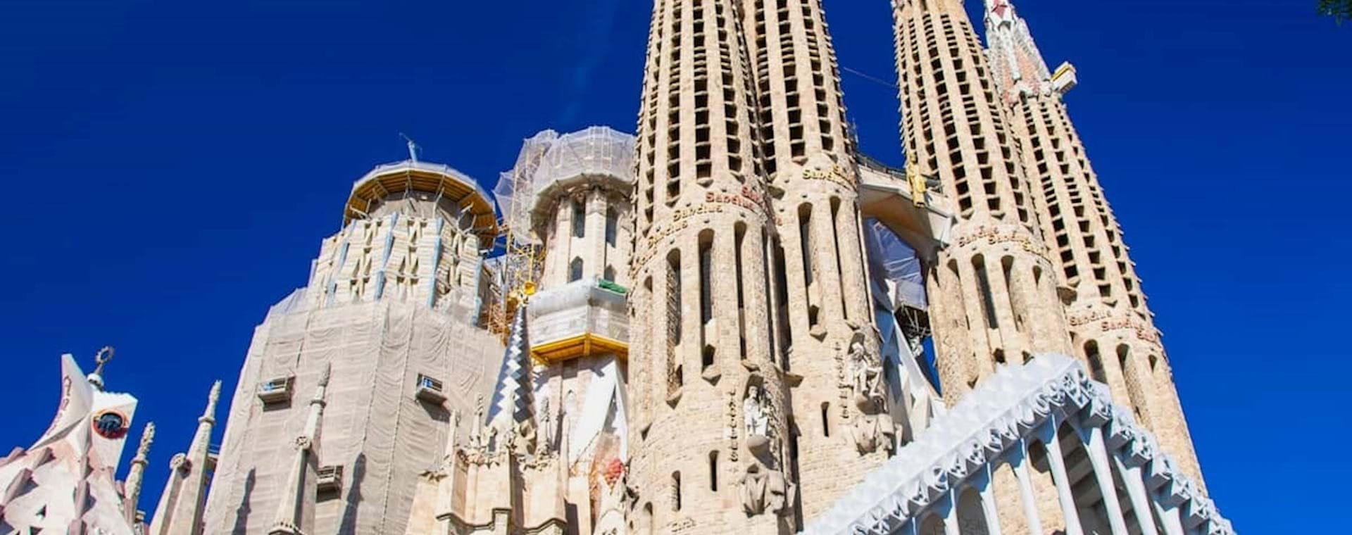 Exterior of art nouveau style cathedral Sagrada Familia in Barcelona
