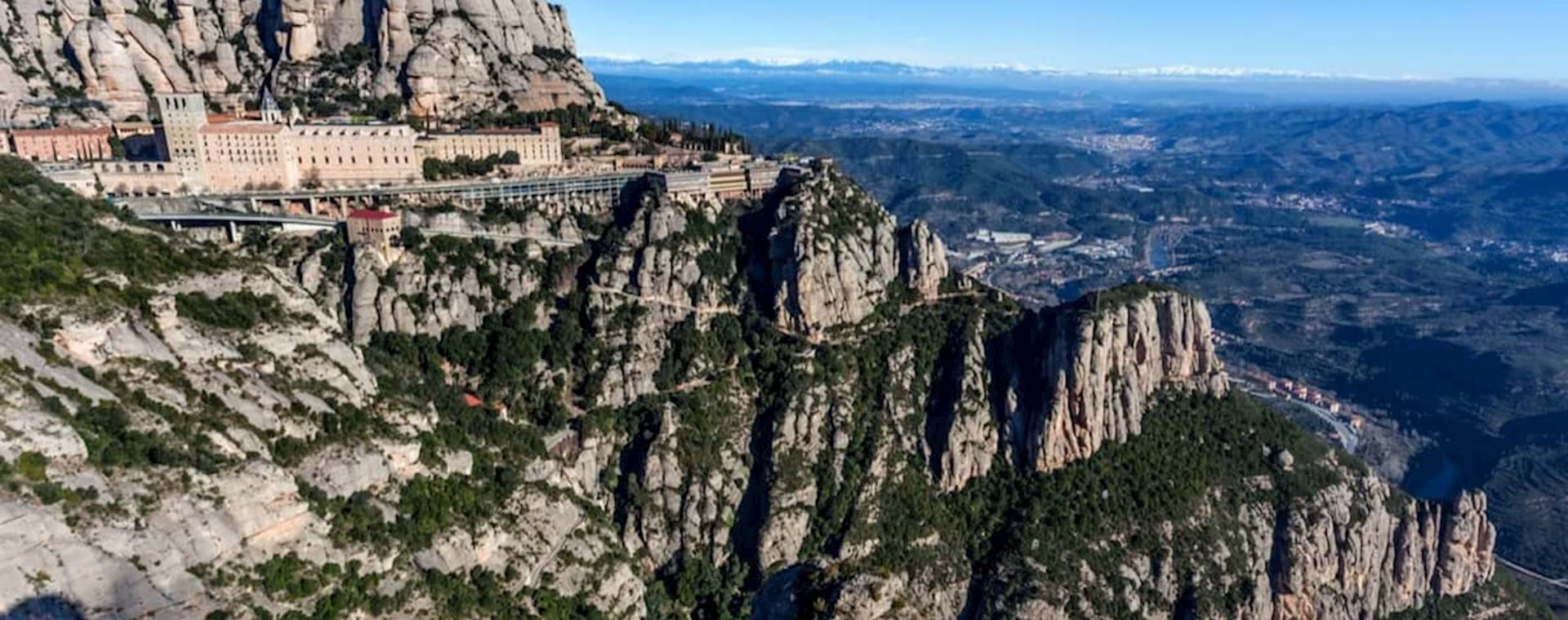 Impressive mountain formation and monastery in Montserrat, Spain