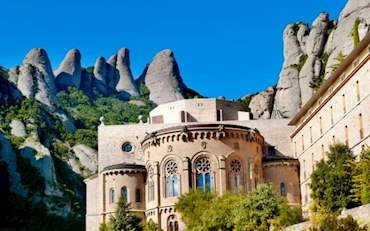 Incredible mountain shape at the back of Montserrat Monastery, Catalonia, Spain