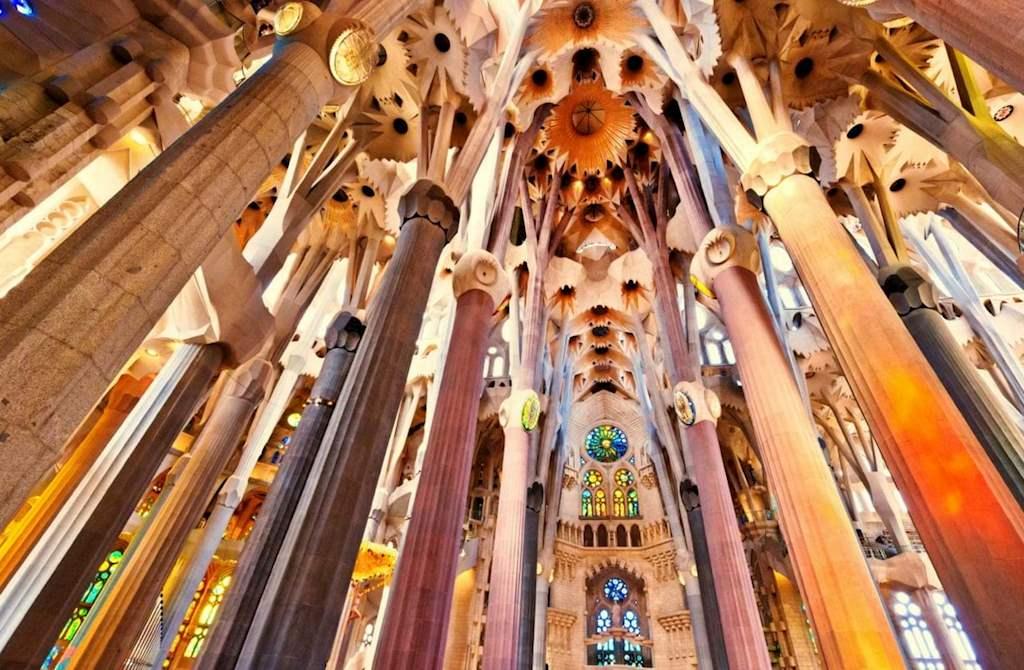 Sagrada Familia impressive ceiling in Barcelona