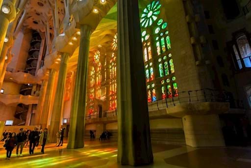 Colorful Sagrada Familia interior, Barcelona