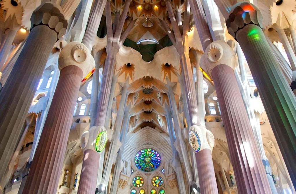 Sagrada Familia stunning ceiling and columns designed by famous architect Antonio Gaudi in Barcelona