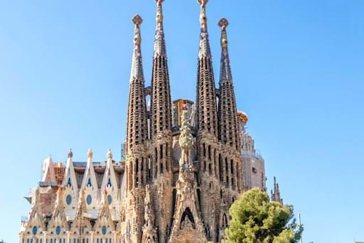 Beautiful towers of Sagrada Familia Cathedral in Barcelona