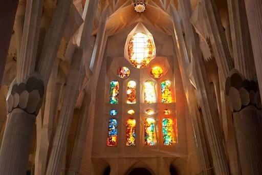 Sagrada Familia colorful interior in Barcelona