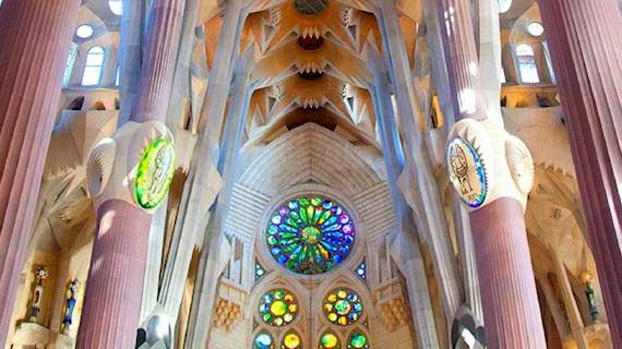 The decorative ceiling and pillars of La Sagrada Familia Cathedral