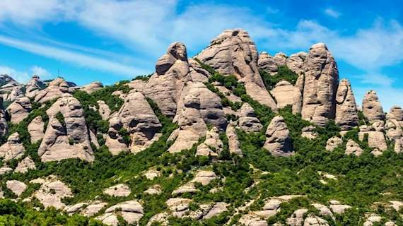 Saint Michael's cross on Montserrat mountain near barcelona
