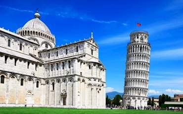 The Leaning Tower of Pisa on a sunny day