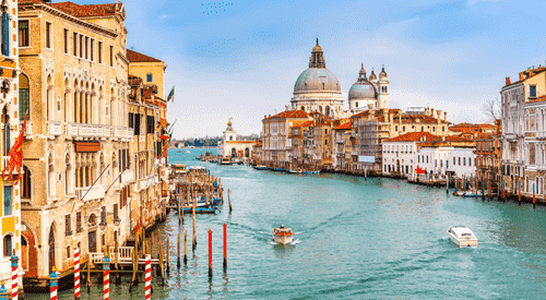 The Grand Canal in Venice on a sunny day
