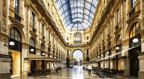 The interior of the Galleria Vittorio Emanuele II in Milan