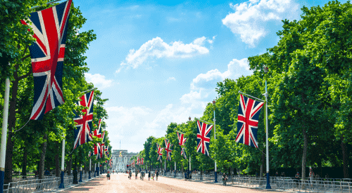 The Mall in London, looking towards Buckingham Palace