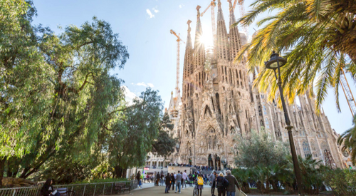 The facade of the Sagrada Familia on a sunny day