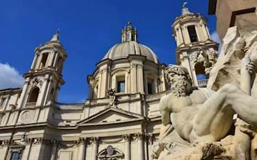 Famous statue of the four rivers fountain at Piazza Navona