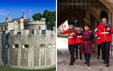 Iconic Tower of London and Beefeaters