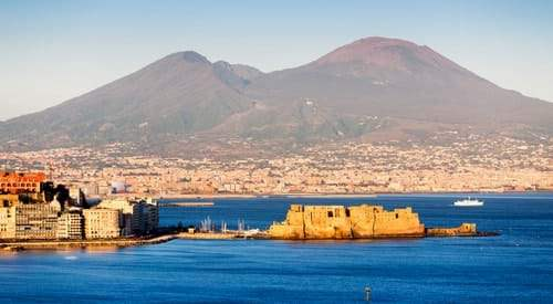 Mont Vesuvius at the background of Naples City