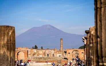 Pompeii ruins and Mt. Vesuvius at the back