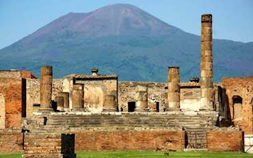 View of Mt Vesuvius from Pompeii Archaeological Area