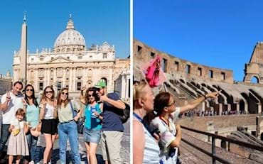 Tourists in front of Italy's most popular attractions Vatican and the Colosseum.