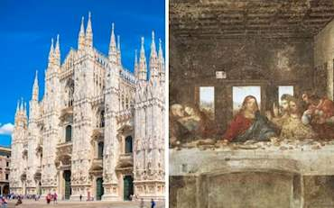 Duomo Cathedral in Milan with the Last Supper painting by Leonardo Da Vinci