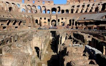Ruins of the Colosseum on a sunny day in Rome