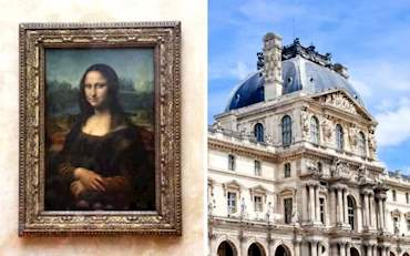 Famous Mona Lisa painting in the Louvre Museum in Paris