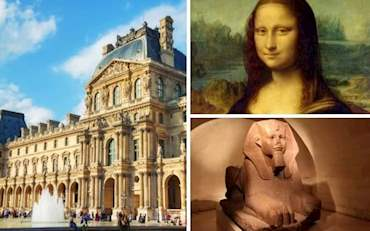 Egyptian artifact and Mona Lisa painting at the Louvre Museum