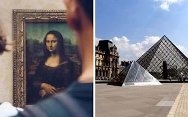 Famous Mona Lisa painting by Leonardo Da Vinci and Iconic Louvre Museum Pyramids