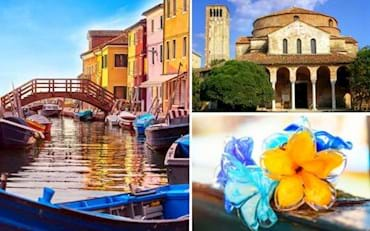 Amazing view of Murano's canal, Church of Santa Fosca in Torcello and a beautiful glass blowing flower