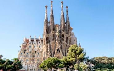 Front view of the Sagrada Familia in Barcelona