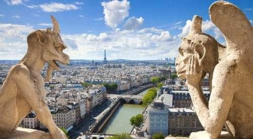 Gargoyles on Notre Dame Cathedral looking over the city of Paris