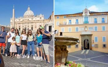 Tourists taking a picture in St. Peter Square in Rome and the front of Castel Gandolfo