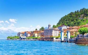 Stunning view of the beautiful Bellagio town in the Lake of Garda.