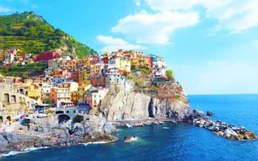 Panoramic view of the amazing town of Manarola in Italy