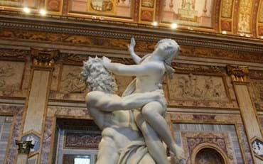 Famous Bernini's statue The Rape of Proserpina inside the Borghese Gallery
