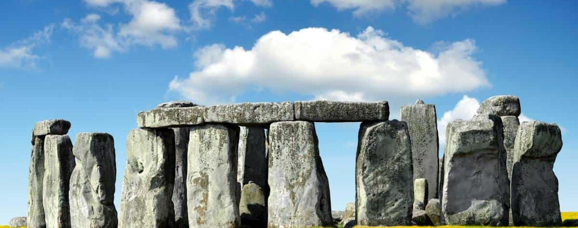 Panoramic view of Stonehenge in England on a sunny day
